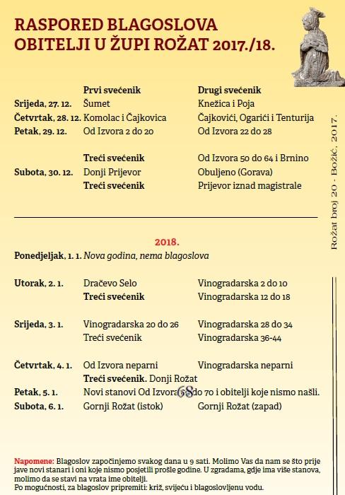 RASPORED BLAGOSLOVA OBITELJI U ŽUPI ROŽAT 2017./18.
