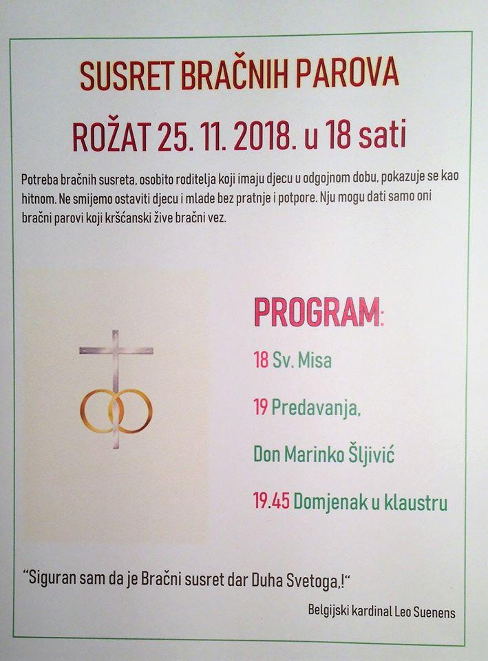 Susret bračnih parova u župi Rožat, 25. XI. 2018. u 18 sati