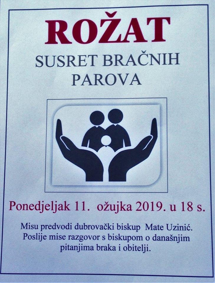 ROŽAT, SUSRET BRAČNIH PAROVA. Ponedjeljak, 11. ožujka 2019. u 18 sati.