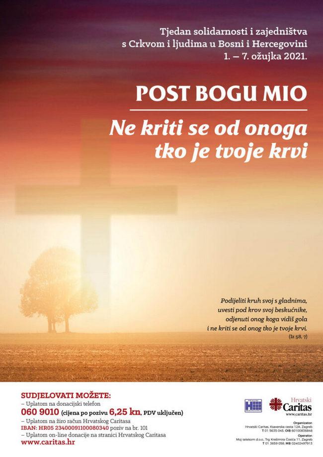 Ravnatelj Caritasa BiH poziva na solidarnost u Tjednu solidarnosti s Crkvom i ljudima u BiH
