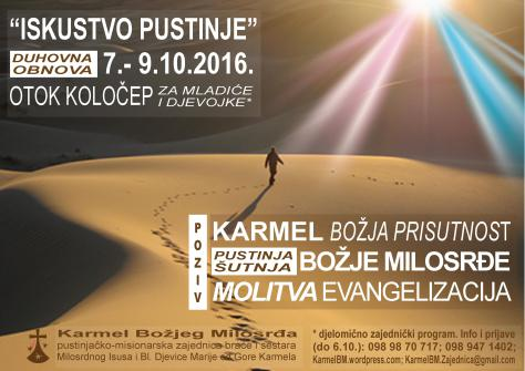 """Dođi na """"Iskustvo pustinje"""" 7. do 10. listopada 2016."""